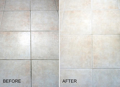 before and after cleaning grouting tile in bathroom
