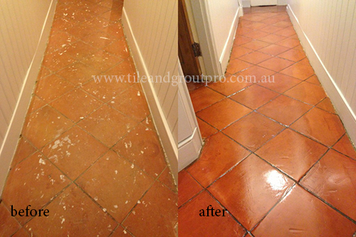 before and after Cleaning terracotta tile floor