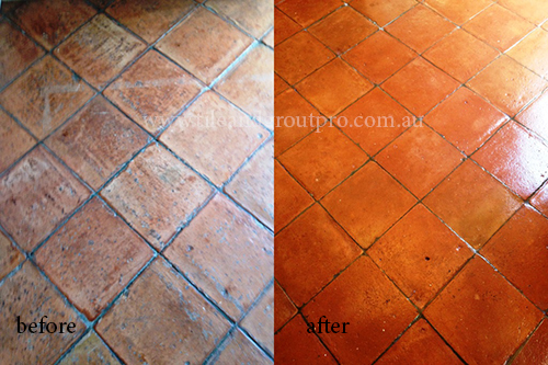 before and after Cleaning terracotta tile