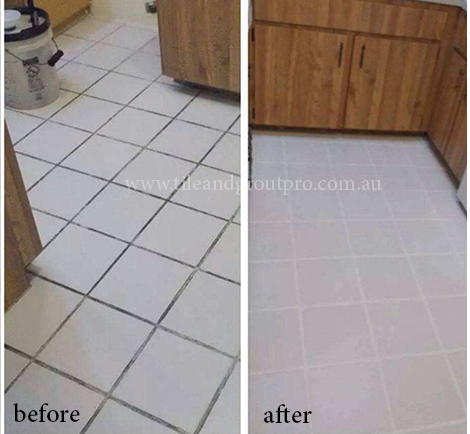 before and after Kitchen Regrouting Tile floor