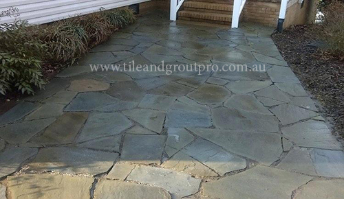 before and after Cleaning bluestone tile