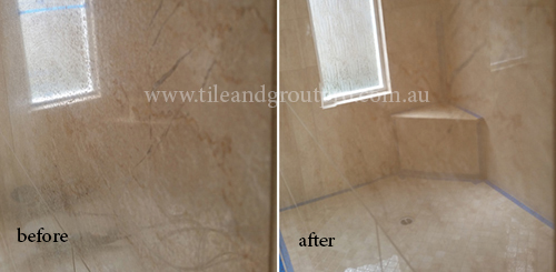 before and after Polishing marble tile floor