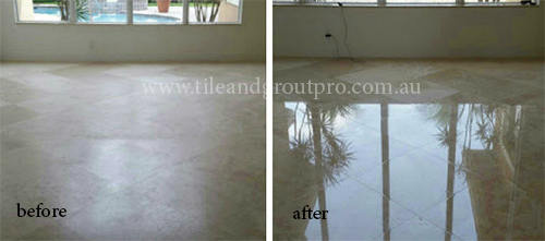 before and after Polishing marble tile
