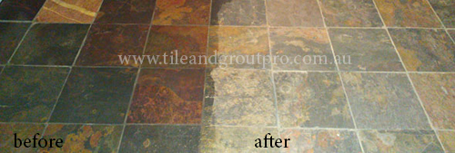 before and after cleaning slate tile