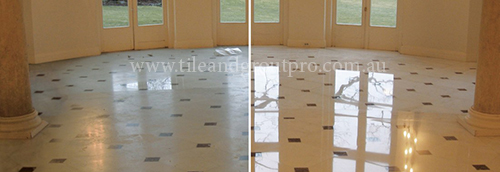 before and after Cleaning travertine tile floor
