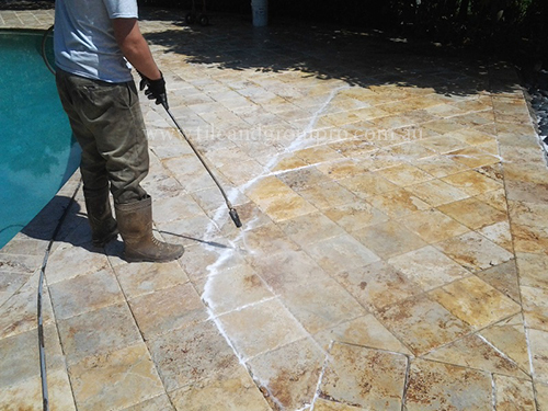 before and after Cleaning travertine tile