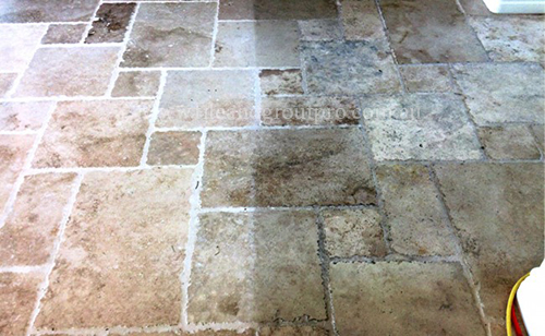 before and after cleaning travertine