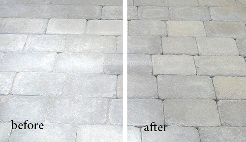 efflorescence treatment tiles before and after